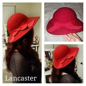 Vintage Lancaster Red Ribbon Bow Wool Cloche
